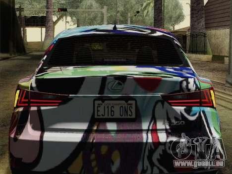 Lexus IS350 FSPORT Stikers Editions 2014 pour GTA San Andreas vue arrière
