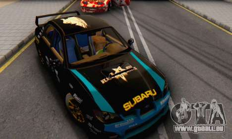 Subaru Impreza WRC STI Black Metal Rally für GTA San Andreas Rückansicht