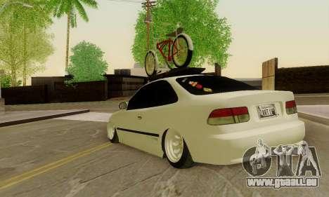 Honda Civic ek Coupe Hellaflush für GTA San Andreas zurück linke Ansicht