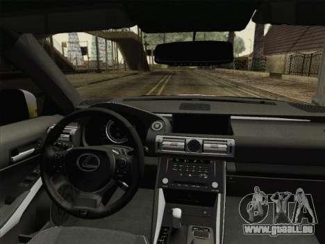 Lexus IS350 FSPORT Stikers Editions 2014 pour GTA San Andreas vue intérieure