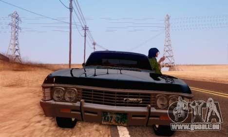 Chevrolet Impala 1967 Supernatural pour GTA San Andreas vue arrière