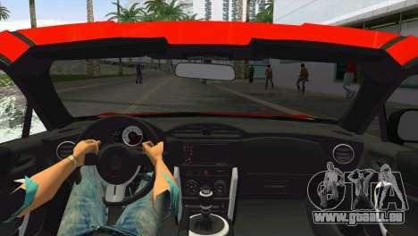 Toyota GT86 für GTA Vice City Rückansicht