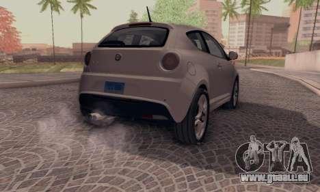 Afla Romeo Mito Quadrifoglio Verde pour GTA San Andreas laissé vue