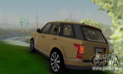 Range Rover Vogue 2014 V1.0 SA Plate pour GTA San Andreas sur la vue arrière gauche