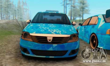 Dacia Logan Blue Star für GTA San Andreas Rückansicht