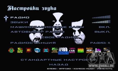 Noir Métal Menu (en plein écran) pour GTA San Andreas sixième écran