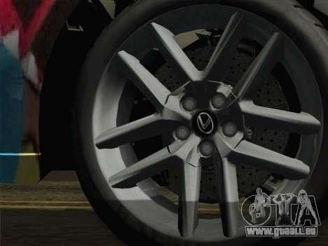Lexus IS350 FSPORT Stikers Editions 2014 pour GTA San Andreas sur la vue arrière gauche