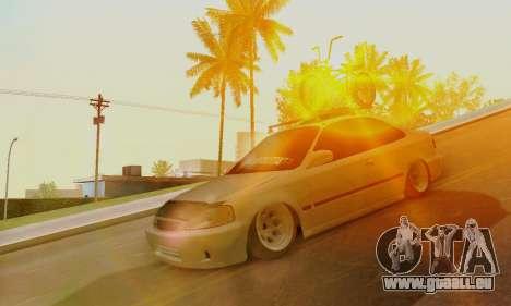 Honda Civic ek Coupe Hellaflush pour GTA San Andreas laissé vue