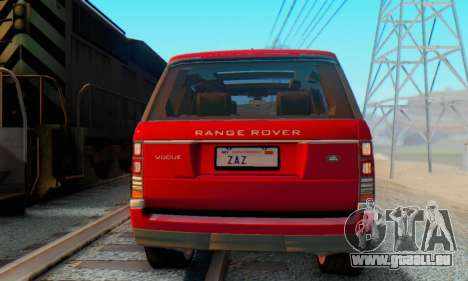 Range Rover Vogue 2014 V1.0 Interior Nero pour GTA San Andreas sur la vue arrière gauche