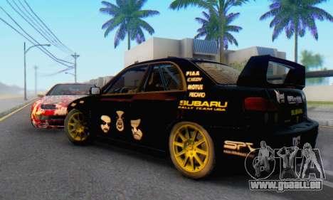 Subaru Impreza WRC STI Black Metal Rally für GTA San Andreas zurück linke Ansicht