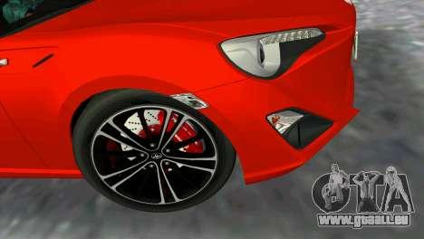 Toyota GT86 pour GTA Vice City sur la vue arrière gauche