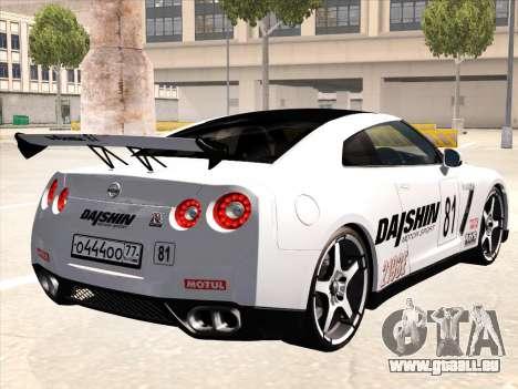 Nissan GTR-R35 Spec-V pour GTA San Andreas vue de dessous