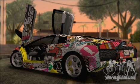 Lamborghini Murcielago 2005 Mêmes Éditions HQLM pour GTA San Andreas sur la vue arrière gauche