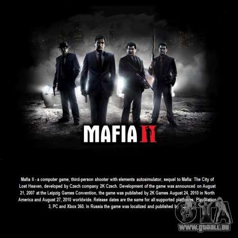 L'écran de démarrage de Mafia II pour GTA San Andreas