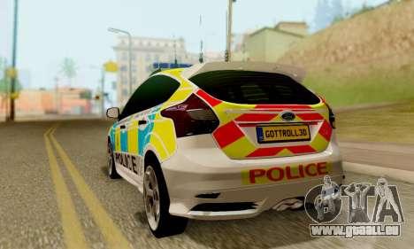 Ford Focus ST 2013 British Hampshire Police pour GTA San Andreas laissé vue