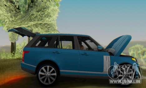 Range Rover Vogue 2014 V1.0 Interior Nero für GTA San Andreas Rückansicht