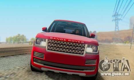 Range Rover Vogue 2014 V1.0 Interior Nero pour GTA San Andreas laissé vue