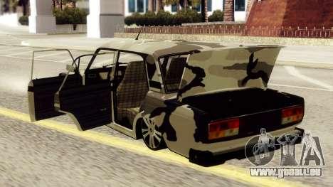 VAZ 2107 en tenue de camouflage pour GTA San Andreas vue de droite