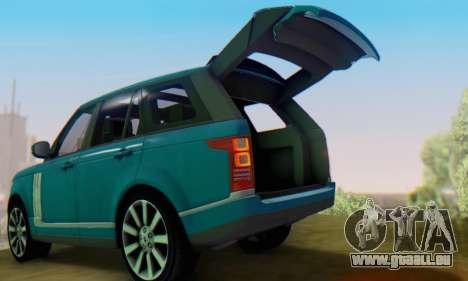 Range Rover Vogue 2014 V1.0 Interior Nero für GTA San Andreas rechten Ansicht