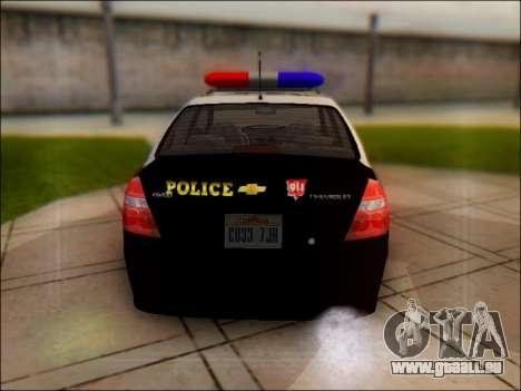 Chevrolet Aveo Police pour GTA San Andreas vue de droite