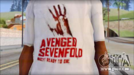A7X Not Ready To Die Fan T-Shirt für GTA San Andreas dritten Screenshot
