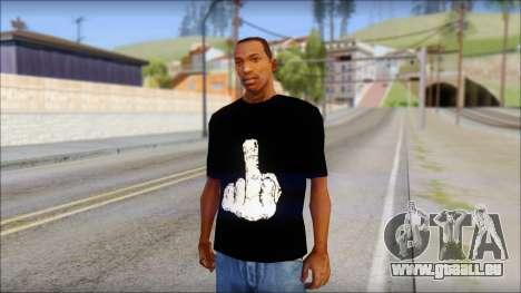 Black T-Shirt wBlack T-Shirt with middle finger pour GTA San Andreas