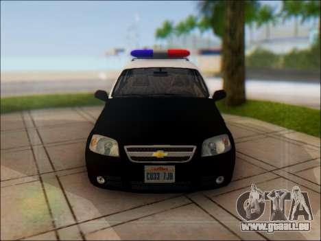 Chevrolet Aveo Police pour GTA San Andreas vue de côté