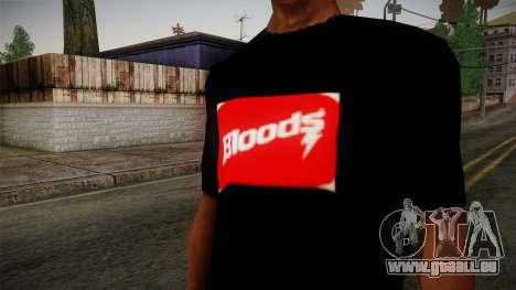 Bloods T-Shirt für GTA San Andreas dritten Screenshot