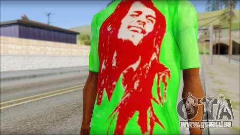 Bob Marley Jamaica T-Shirt pour GTA San Andreas troisième écran