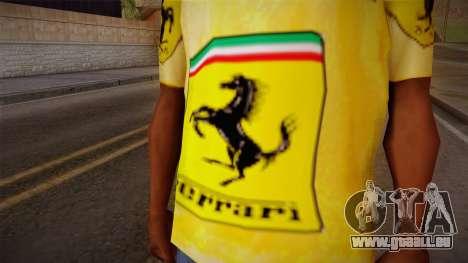 Ferrari T-Shirt pour GTA San Andreas troisième écran