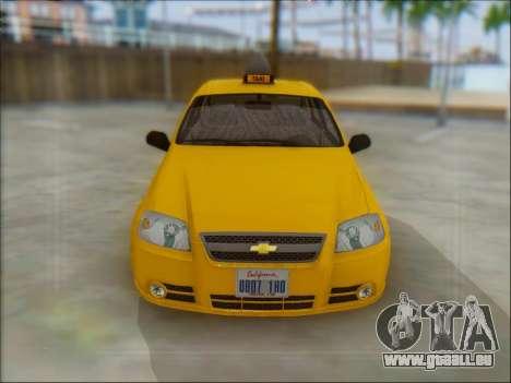 Chevrolet Aveo Taxi für GTA San Andreas zurück linke Ansicht