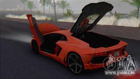 Lamborghini Aventador LP700-4 2012 pour GTA San Andreas vue arrière
