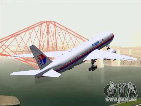 Boeing 777-2H6ER Malaysia Airlines pour GTA San Andreas vue arrière