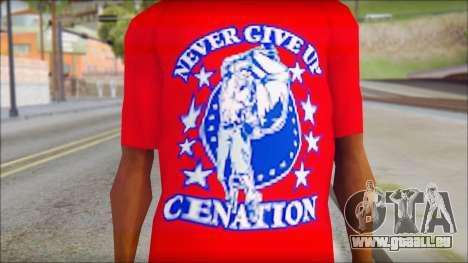 John Cena Red Attire T-Shirt pour GTA San Andreas troisième écran