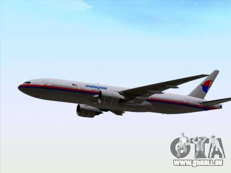 Boeing 777-2H6ER Malaysia Airlines pour GTA San Andreas vue intérieure