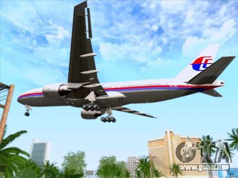 Boeing 777-2H6ER Malaysia Airlines für GTA San Andreas obere Ansicht