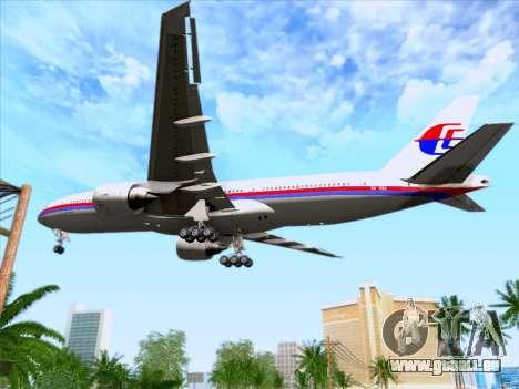 Boeing 777-2H6ER Malaysia Airlines pour GTA San Andreas vue de dessus