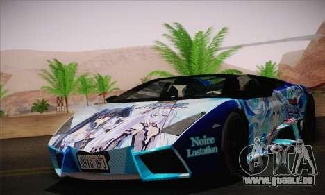 Lamborghini Reventon Black Heart Edition für GTA San Andreas zurück linke Ansicht