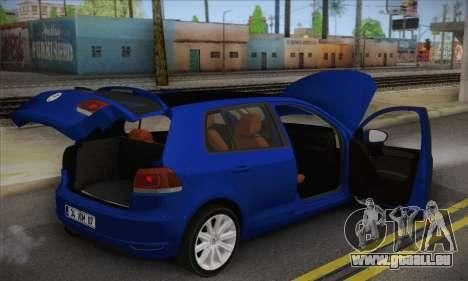 Volkswagen Golf Mk6 2010 pour GTA San Andreas vue arrière