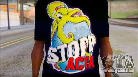 Anti ACTA T-Shirt pour GTA San Andreas troisième écran