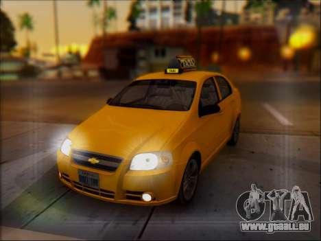 Chevrolet Aveo Taxi für GTA San Andreas Unteransicht