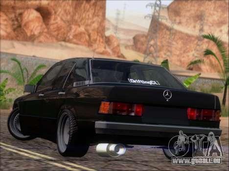 Mercedes Benz 190E Drift V8 für GTA San Andreas zurück linke Ansicht