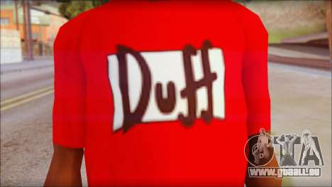 Duff T-Shirt pour GTA San Andreas troisième écran