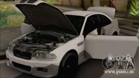 BMW M3 E46 Black Edition pour GTA San Andreas sur la vue arrière gauche