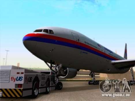 Boeing 777-2H6ER Malaysia Airlines für GTA San Andreas zurück linke Ansicht