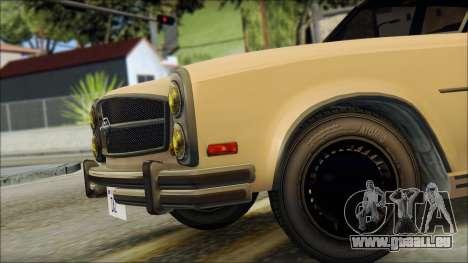 Benefactor Glendale from GTA 5 pour GTA San Andreas sur la vue arrière gauche