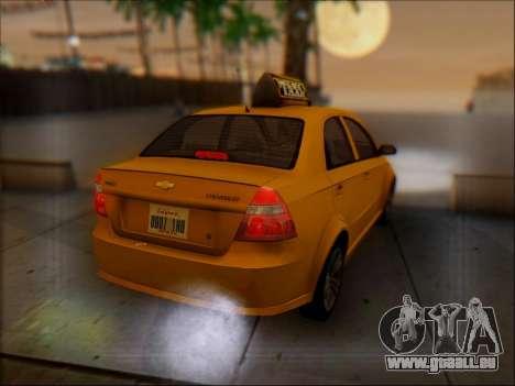 Chevrolet Aveo Taxi für GTA San Andreas obere Ansicht