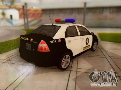 Chevrolet Aveo Police pour GTA San Andreas vue arrière