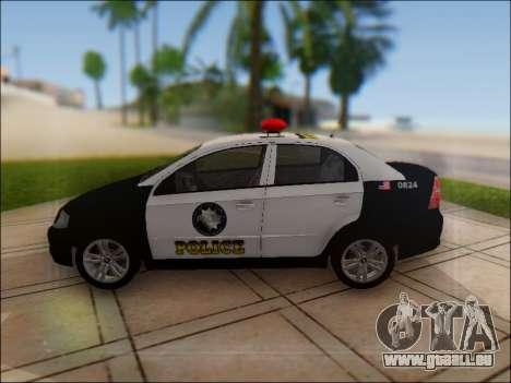 Chevrolet Aveo Police pour GTA San Andreas laissé vue