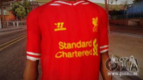 Liverpool FC 13-14 Kit T-Shirt für GTA San Andreas dritten Screenshot